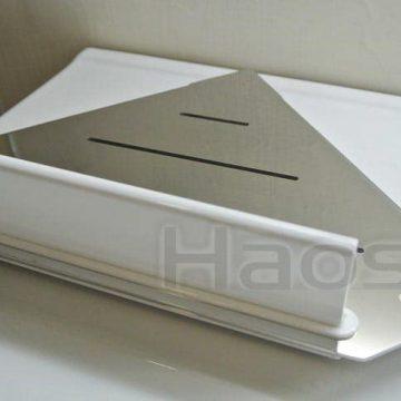 083.4512 不鏽鋼轉角置物架,白色烤漆水刮刀擋板