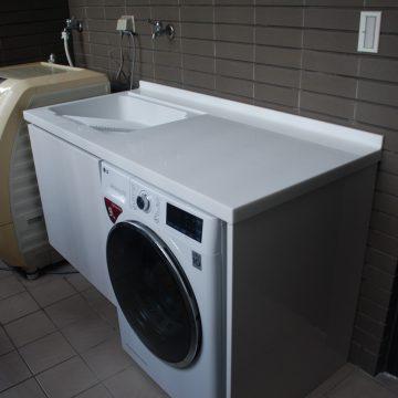 訂製平接檯面洗衣槽櫃組